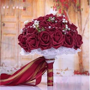 Image 2 - Fashion Cheap Burgundy Wedding Bouquet Pink/Red/White/Burgundy Bridal Bridesmaid Flower Artificial Flower Rose Bouquet Bride