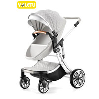 Stroller is available, lying and folding, tall and portable to look, double sided newborn shock absorber 0 4 months baby cart