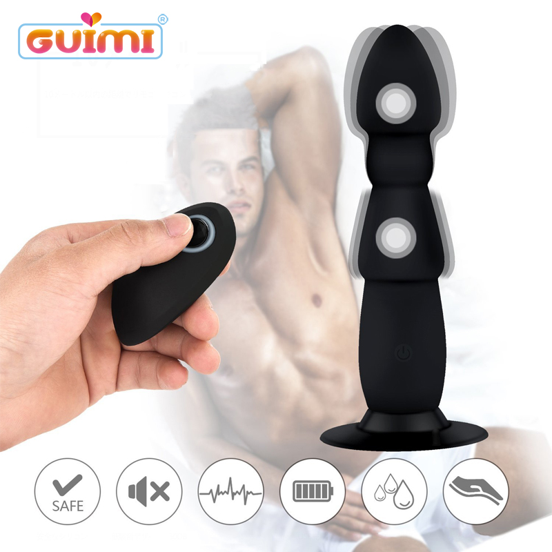 GUIMI USB Dildos Vibrator For Men Realistic Silicone Butt Plug Penis Anal Vibrator With Suction Cup Male Erotic Sex Products / auto handfree retractable piston pricky male masturbation cup for men penis massage aircraft cup passion cup adult sex products