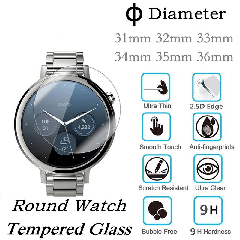100pcs Round Watch Tempered Glass Screen Protector Diameter 31mm 32mm 33mm 33 5mm 34mm 34 5mm