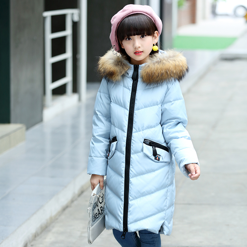 XYF8860 Boys Girls Winter Down Jackets Kids Fur Collar Thicken Winter Jacket Coat Warm Outerwear Long Coat 85% White Duck Down kindstraum 2017 super warm winter boys down coat hooded fur collar kids brand casual jacket duck down children outwear mc855