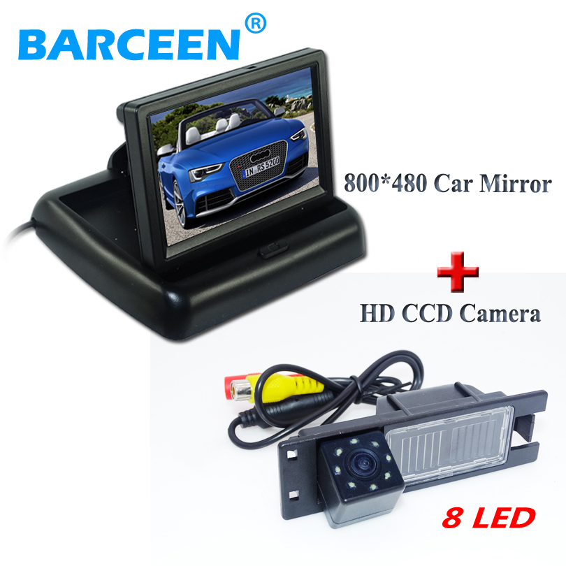 image sensor hd ccd car rear camera 8 led with wire car monitor4.3 for Opel Astra H /Corsa D/ Meriva A /Vectra C/Zafira B/FIAT ynd led rear license plate light for vauxhall opel corsa c d astra h j zafira b