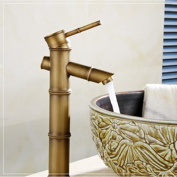 Free shipping Single handle bamboo bathroom faucet with bronze finishing antique basin faucet of hot cold basin mixer taps