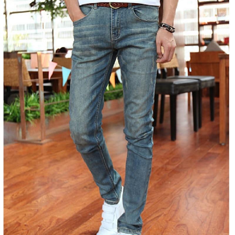 2017 Spring summer new arrival male slim fit casual denim pencil pants fashion trend vintage elastic