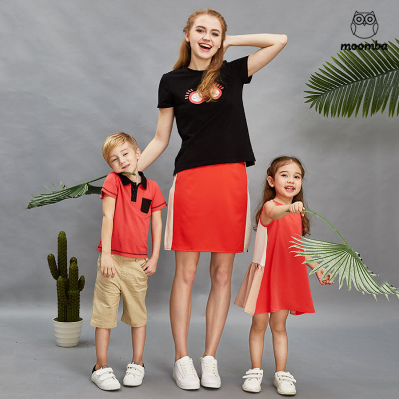 mom daughter family matching outfits woman skirt baby girl fashion vest dresses boy T-shirt Children's clothing sports clothes 2015 family summer stripe short sleeve t shirt shorts skirt set fashion sports clothes for mom and daughter free shipping a048