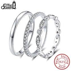 Effie Kraliçe Hakiki 925 Ayar Gümüş Yüzük Erkekler Kadınlar için Çift Yüzükler Düğün Band Kadın Parmak Yüzük Toptan Takı BR74