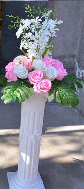 Livraison gratuite colonne romaine blanche avec des ensembles de fleurs de Rose artificielle allée de mariage coureur stade décoration piliers accessoires fournitures - 6