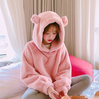 Pink Hoodies Women Fashion Pullover Casual Loose Warm Soft Furry Outwear For Kawaii Girls Autumn Winter