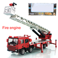 Alloy ladder truck fire engine climbing car truck toy birthday gift collection decoration model 1:50