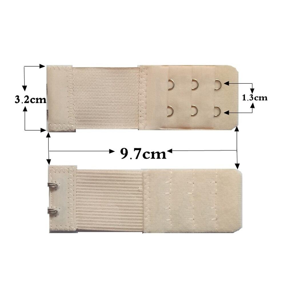 Женский бюстгальтер с 3 рядами, 2 крючка, эластичный, регулируемый, удлиненный, застежка, покрытая пуговицей, нижнее белье, аксессуары для бюстгальтера - Цвет: Бежевый