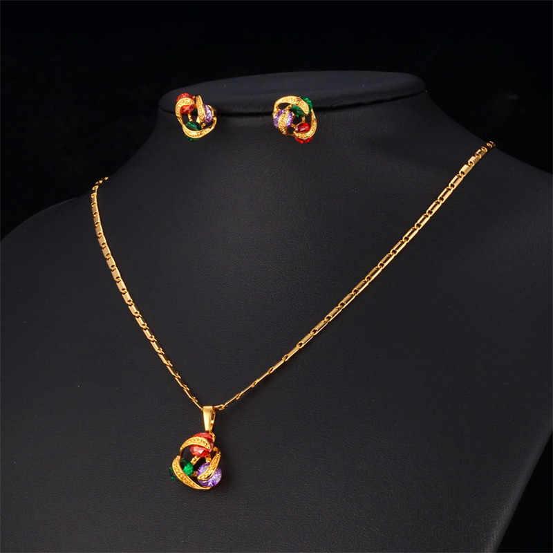 U7 роскошные циркон для женщин позолоченные циркония ожерелье серьги ювелирных изделий S417