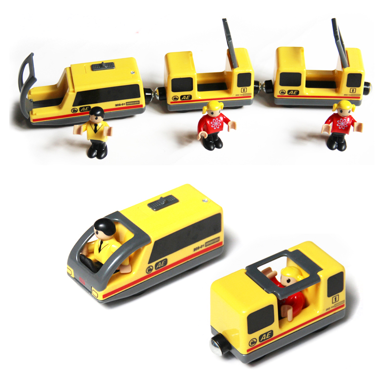 Free Shipping Combination Of Yellow Electromagnetic Locomotive And Electric Train With People Compatible With BRIO Train Track