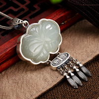 Natural Gemstone White Jade Pendant Engraved Butterfly 925 Sterling Silver Sweater Chain Pendants For Women Fine Jewelry