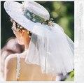 Европейский Стиль Boho Свадебные Шляпы Ручной Работы Цветок Свадебные Аксессуары Для Волос Горошек Тюль Свадебный Головной Убор Головной Убор