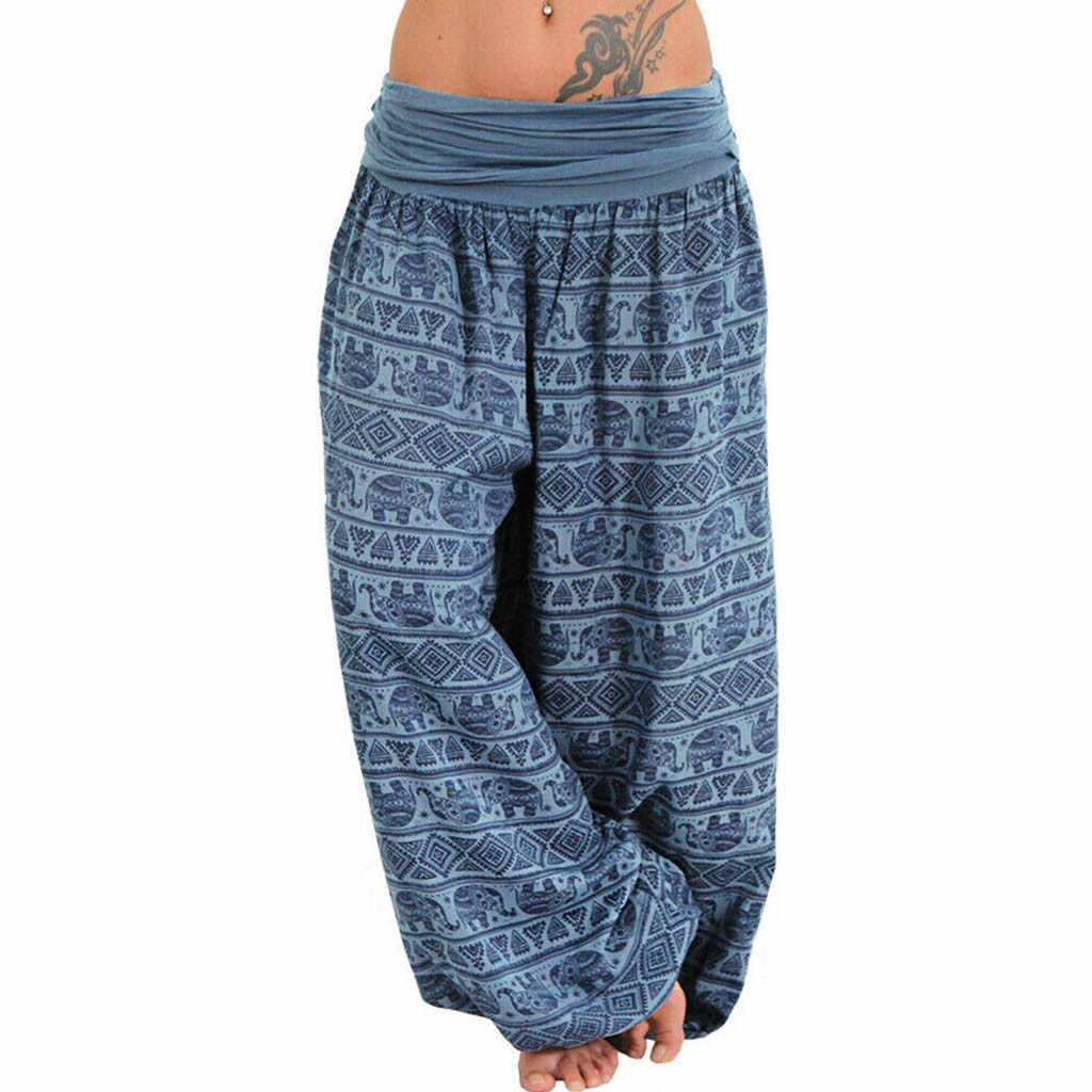 Feitong Women Bohemian Long Pants 2019 Low Waist Vintage Print Harem Pants Elastic Waist Boho Beach Trousers Plus Size 5XL
