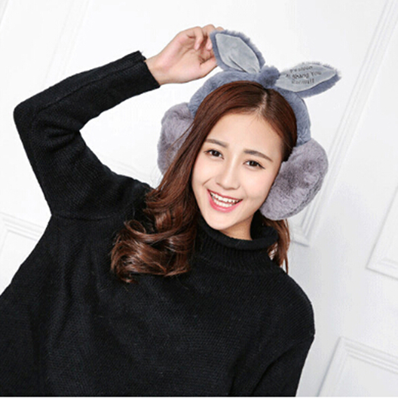 Winter Elegant Rabbit Fur Earmuffs For Women Adjustable Warm Cute Earmuffs Ear Warmers Gifts For Girls Cover Ears Fashion Brand