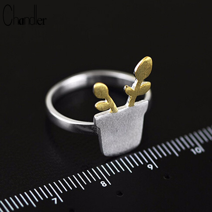 Qiandi Store Chandler 925 Sterling Silver Small Pots Potted Leaf Ring For Women Golden Grass Brushed Charm Rings Wedding Band Statement Gifts
