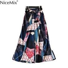 NiceMix Indie Folk Pants Women Drawstring Patchwork Mid-Waist Wide Leg Vocation Beach Spring Bloggers Fashion New