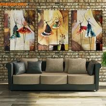 Ingelijste 3 Panel Handgeschilderd Ballet Danser Abstracte Moderne Wall Art Picture Home Decor Olieverfschilderij Voor Slaapkamer