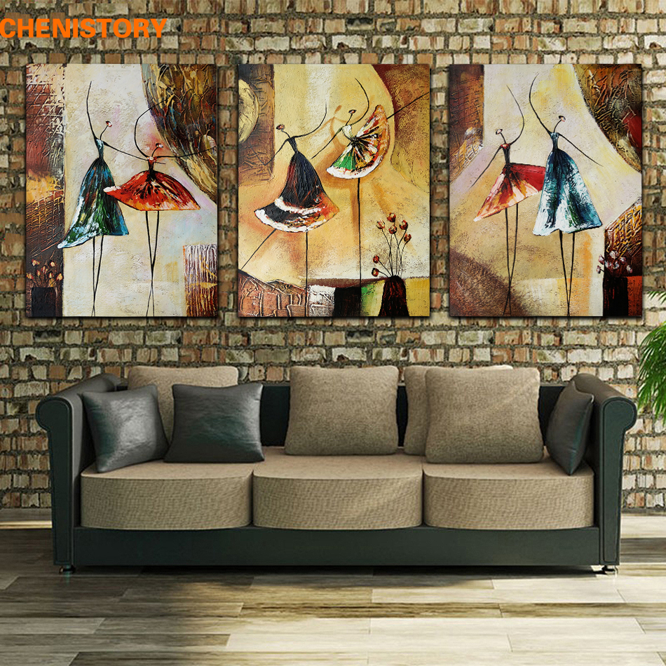 Unframed 3 Panel Håndmalte Ballettdanser Abstract Modern Wall Art Picture Hjemmeinnredning Oljemaleri På Lerret For Soverom