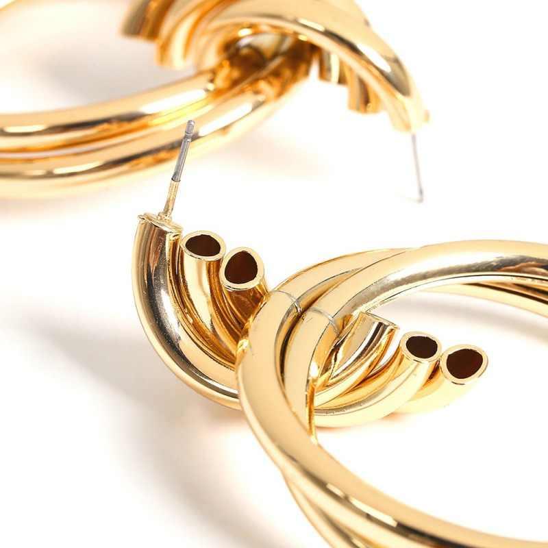 Złoty i srebrny pierścień kolczyki miłośnicy koło kolczyki kolczyk kolczyki minimalistyczny pierścień kolczyki Hollow pierścień biznes kolczyki