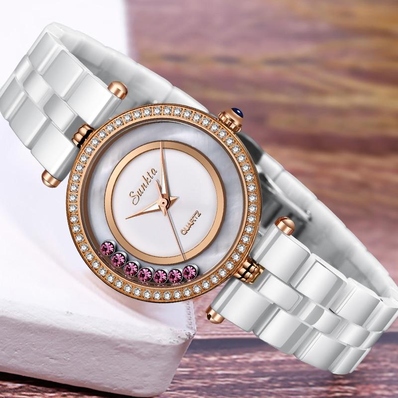 Marca de Luxo Relógio à Prova Sunkta Cerâmica Relógio Feminino Diamante Quartzo Dwaterproof Água Relógios Vestido Pulseira