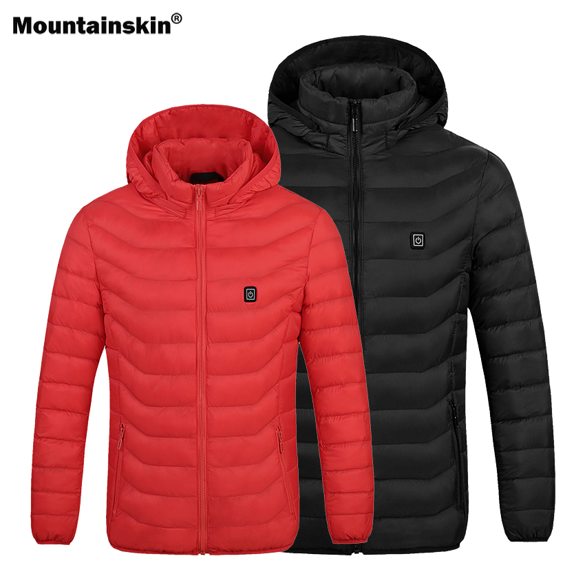 Mountainskin Men Hiking Thermal Heating Jacket Waterproof Outdoor Sports Thick Coat Camping Trekking Skiing Male Clothing VA548