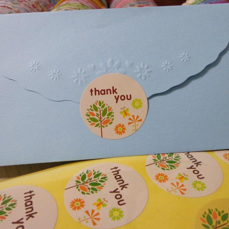 Купить с кэшбэком 120pcs/lot Kawaii Stickers Cartoon Tree 'thank you' Round Paper Sealing Label Sticker DIY Label Handmade Gift Envelopes Sticker