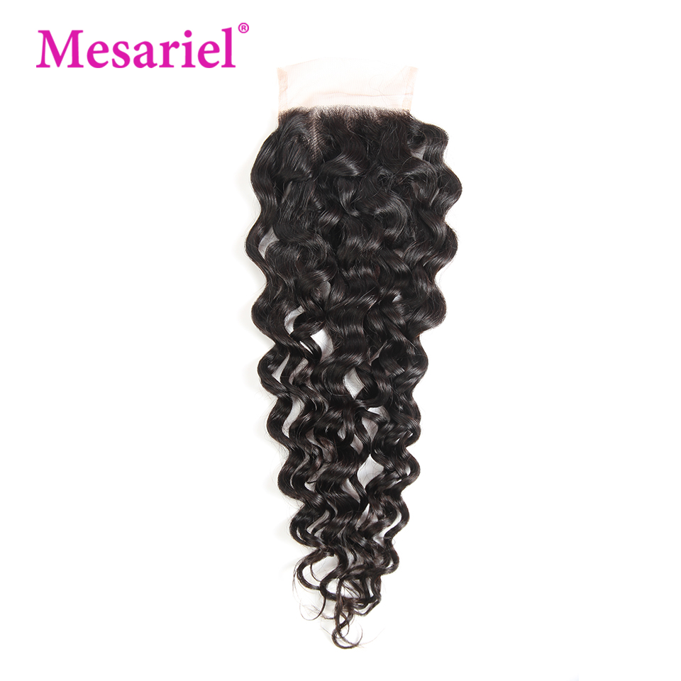 Mesariel Human Hair Lace Closure Brazilian Water Wave Remy Hair Natural Color 100% Human Hair Free Part 4x 4 Lace Closure