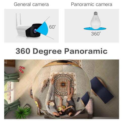 1080 P лампочки Беспроводной IP Камера 3,0 МП 360 градусов панорамный FishEye видеонаблюдения Камера Wi Fi P2P обнаружения движения IP Камера - 5