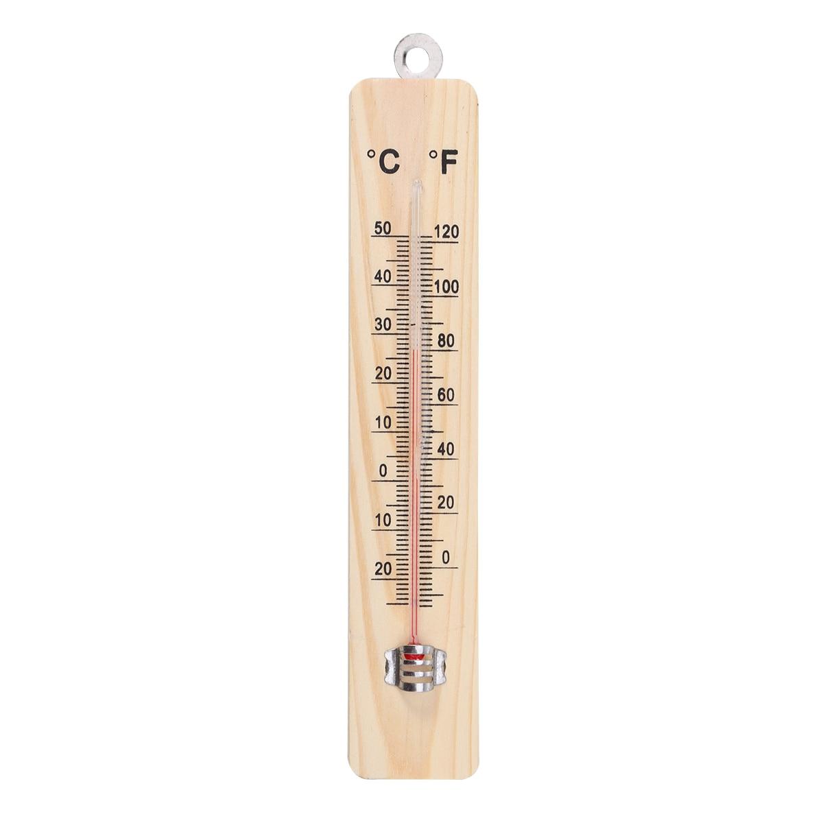 Wood Grain Hanging Vertical Indoor Thermometer Temperature