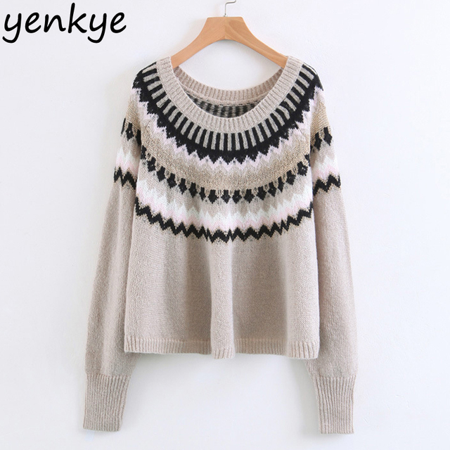 Vintage Women Jacquard Oversized Sweater  Long Sleeve O Neck Loose Cropped Casual Pullover Autumn Winter Jumper   NYB8792