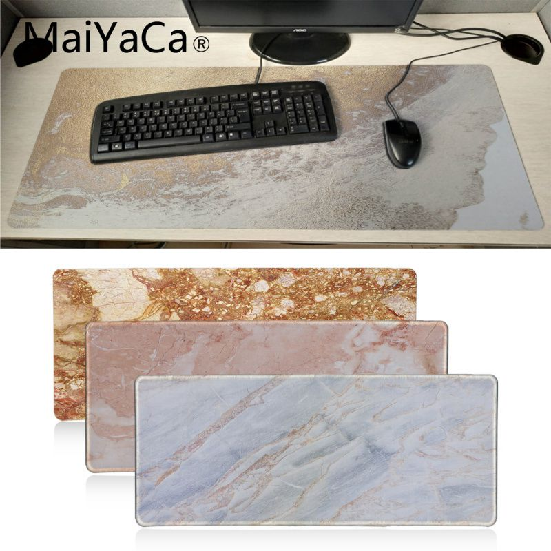MaiYaCa New Designs Modern Faux Gold Glitter Marble Laptop Gaming Mice Mousepad Anime Cartoon Print Large Size Game Mouse Pad