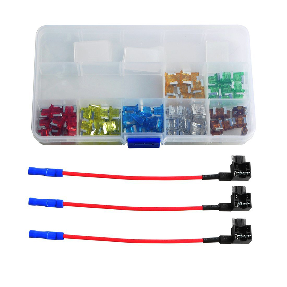 130piece Auto Car Trunk Standard Blade Fuse Assorted 5, 7.5, 10, 15, 20, 25, 30AMP+3 piece Add-a-circuit TAP Adapter (Mini size) 1x acs j add a circuit mini small big piggy back pluggable standard blade tap holder car fuse box electric appliance with fuse