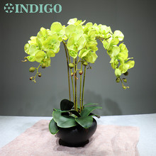 INDIGO - Green Orchids Flower Arrangment ( 6pcs flower+3 leaf) Real Touch Flower Wedding Decorative Flower Event Free Shipping бумажный конструктор умная бумага аврора 477