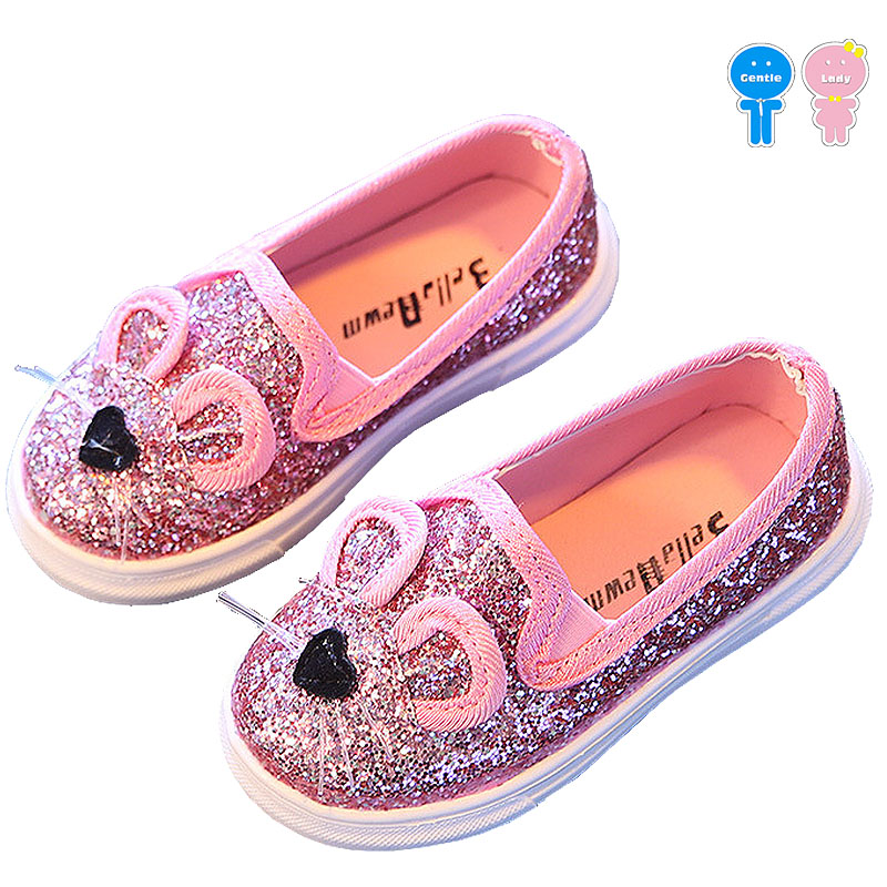 Spring autumn summer glitter 3d cartoon cat beard baby girls skate shoes boys kid flats children toddler 13.5-18.5cm