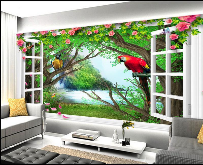Custom 3d Photo Wallpaper 3d Wall Murals Wallpaper Hd: Custom Wallpaper Papel De Parede HD Forest Falls Parrot