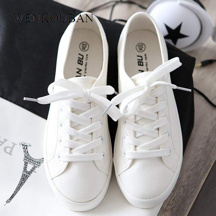 Canvas Shoes Women White Sneakers Vulcanized Shoes Ladies Trainer Basket Female Casual Sneakers Lace Up Zapatos Mujer 2020