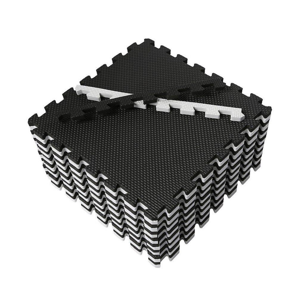 Tapis de Puzzle Meitoku Baby EVA en mousse, tapis de sol noir blanc à emboîtement, tapis de 25 carreaux pour enfants. Chaque bord libre de 32x32 cm. - 4