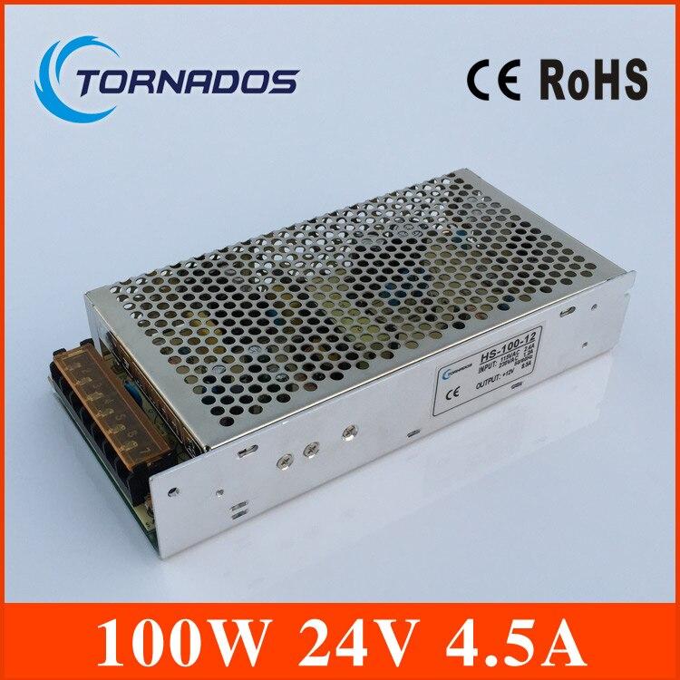 4.5A 24V 100W Single Output Switching power supply for LED Strip light  AC-DC transformer 220v 24v Free Shipping (HS-100-24) 145w 24v 6a single output switching power supply for led strip light ac to dc smps