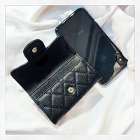 Brand quilted wallet women cow leather classic plaid purse fashion ladies cute slim money bag smart buckle wallet id card holder