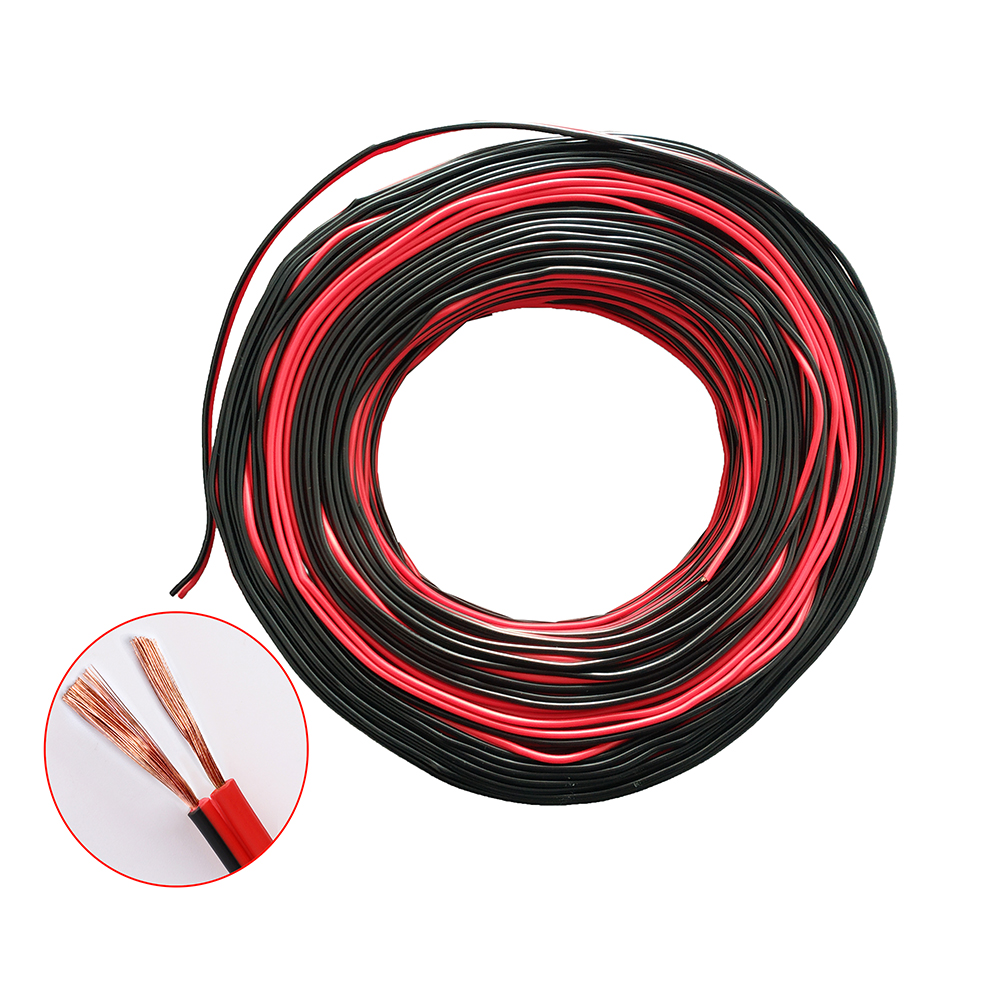 Electrical Wires Gauge <font><b>AWG</b></font> <font><b>16</b></font>/17/18/19/21/22/24 Pure Copper Wires Red Black 2*0.2~2.5mm2 10 Meters Insulated PVC Extension Cable image