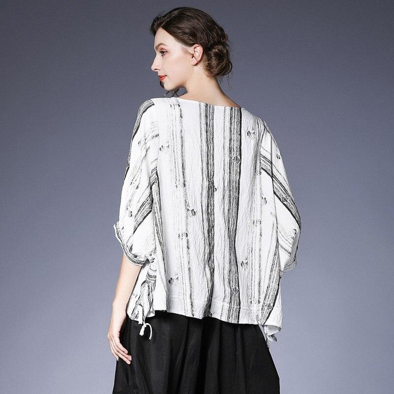 [EAM] 2019 nouveau printemps été col rond demi manches blanc rayé Split Joint lâche grande taille T-shirt femmes mode marée JT928 - 2