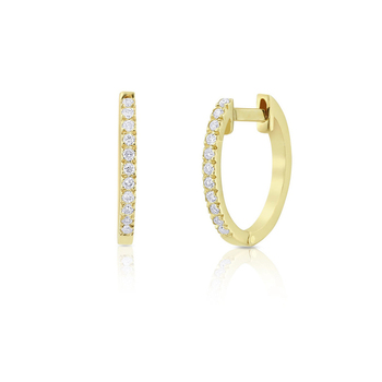 Женские серьги Huggies с натуральным алмазом, внутренний диаметр 10 мм, 14 к, желтое золото