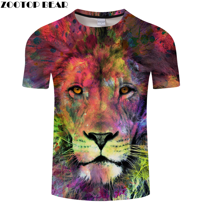 Colorful Tiger 3D tshirts Men Women t shirt Casual t-shirt Brand Tee Printed Top Streatwear Camiseta Short Drop Ship ZOOTOPBEAR