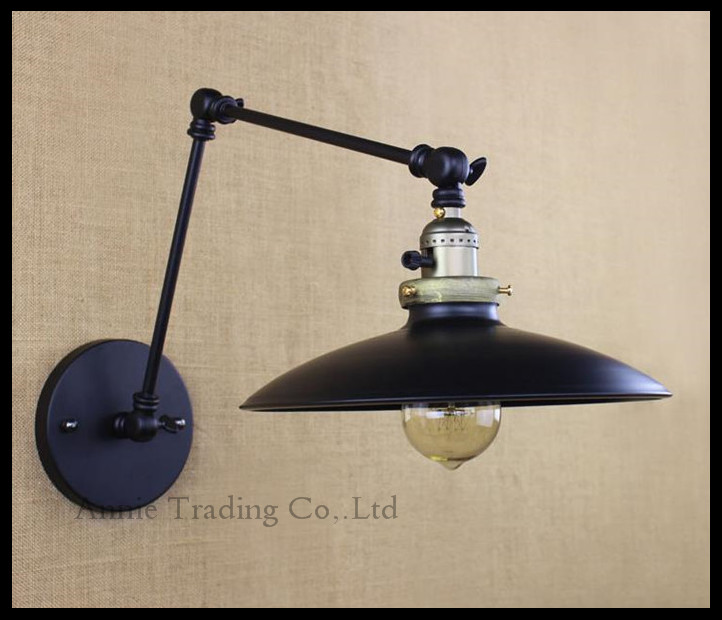 Vintage Black  25+25cm double swing arms adjusted knob swtich on off wall lamp Industrial Iron Metal Lid lampshade lampara luz nflc 16 x ls d3020 40mm clear crystal glass diamond cut door knobs kitchen cabinet drawer knobs screw home decorating crystal