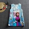Impresión digital venta comercio frozen Princesa Vestido de Las Muchachas de la historieta Vestido de Jacquard