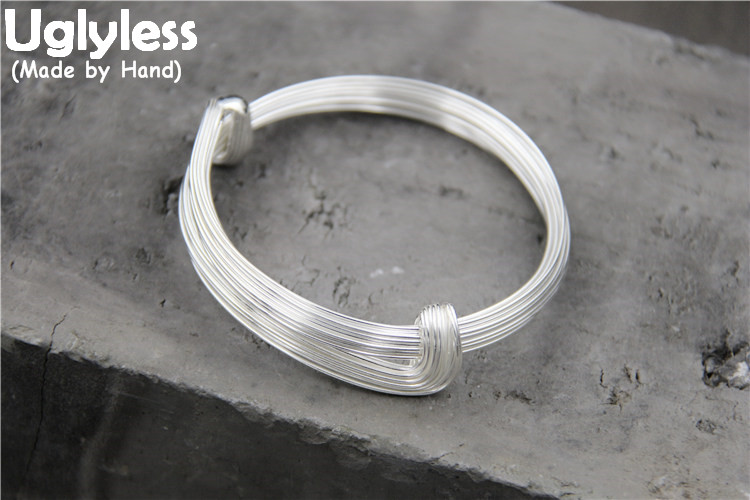Uglyless Real S925 Sterling Silver Women Simple Fashion Adjustable Glossy Bangles Handmade Multi-Layer Silver Wires Thick BangleUglyless Real S925 Sterling Silver Women Simple Fashion Adjustable Glossy Bangles Handmade Multi-Layer Silver Wires Thick Bangle