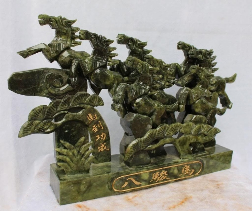 25 4cm Exquisite China 39 s Taiwan jade carved eight horses run successfully statue in Figurines amp Miniatures from Home amp Garden