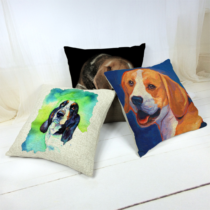 Promotional Cushion Cover Cute Beagle Animal Solid Background Home Bedroom Living Room Sofa Decor Gift Linen Print Pillow Cases